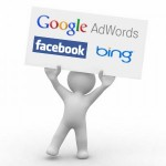 Picture of a man holding a board with the sayings google adwords, facebook and bing on it.