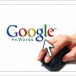 google adwords logo and a hand with a mouse clicking on it.